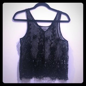 House of Harlow 1960 black lace top